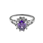 Amethyst CZ Sunflower Ring