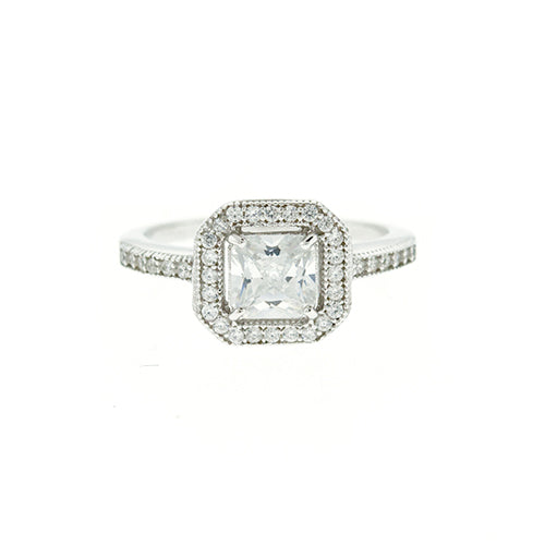 CZ Princess Cut Halo Ring