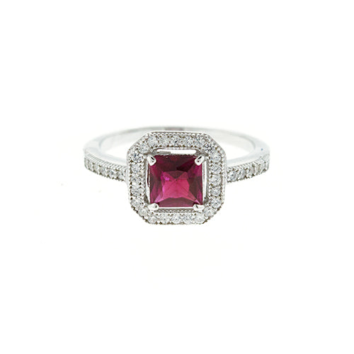 Ruby Princess Cut CZ Halo Ring