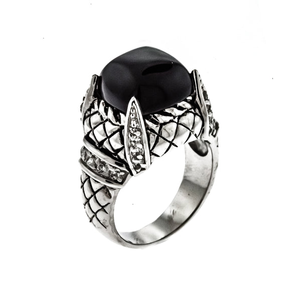 Black Onyx Weave Ring