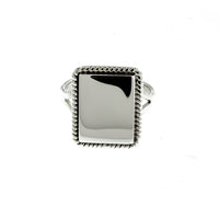 Rectangle Rope Monogram Ring