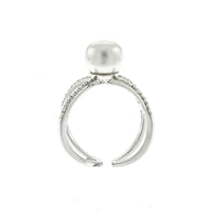 Pearl and CZ X Ring
