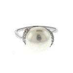 Pearl and CZ Swirl Ring