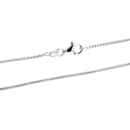 Rhodium 1mm Round Box 100 Chain