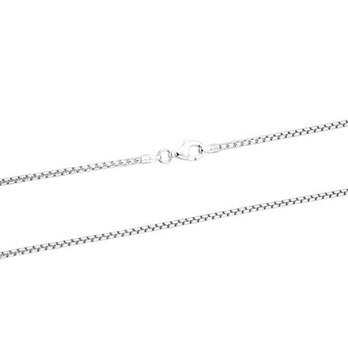 Rhodium 1.5mm Round Box 140 Chain