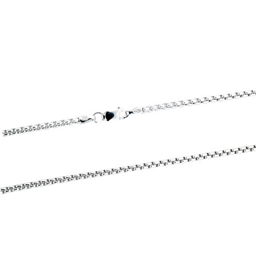 Rhodium 2mm Round Box 250 Chain