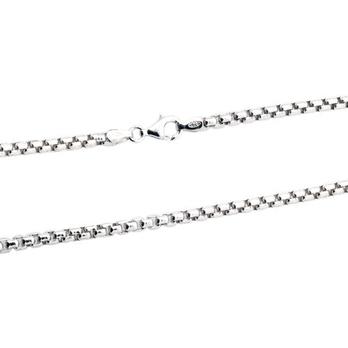 Rhodium 3mm Round Box 300 Chain