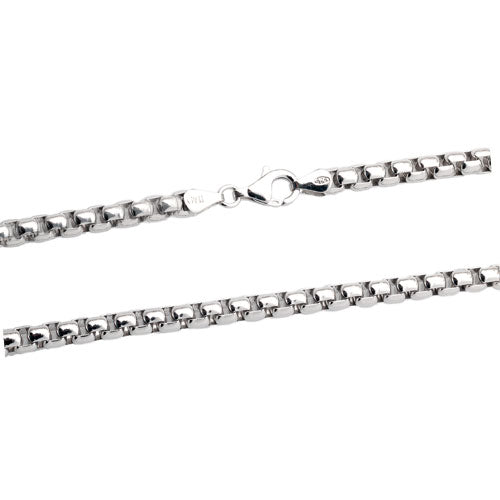 Rhodium 5mm Round Box 500 Chain