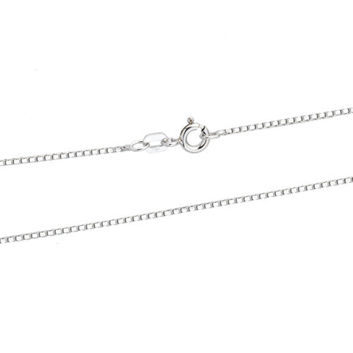 Rhodium 0.8mm DC Round Box 060 Chain