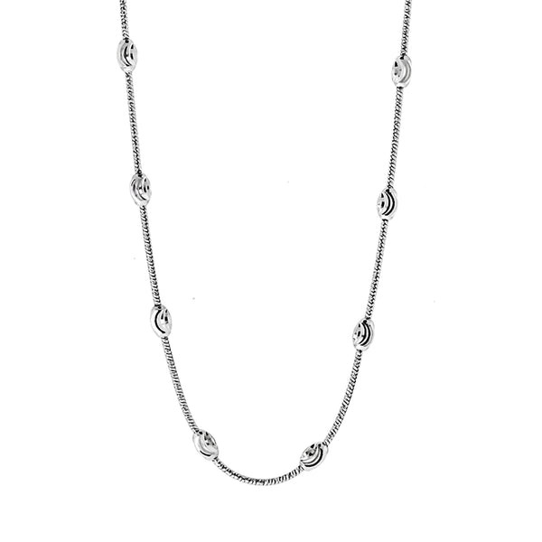 Rhodium Oval Moon Chain