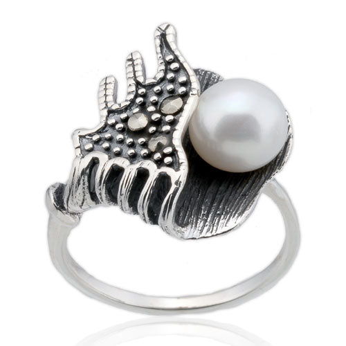 Pearl and Marcasite Ring
