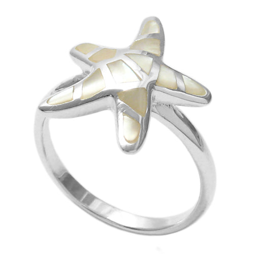 White Shell Starfish Ring