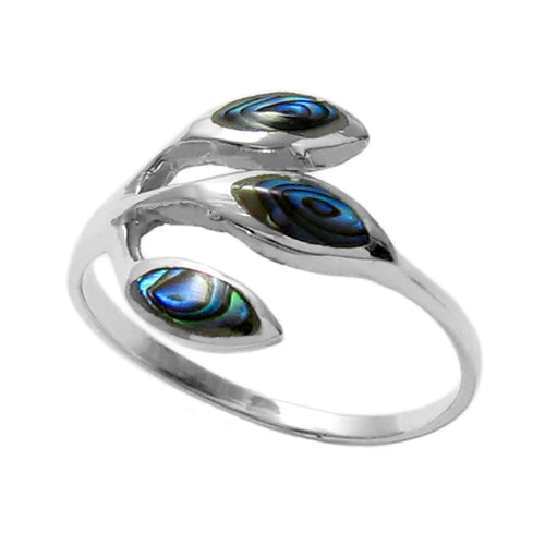 Abalone Three Leaf Ring