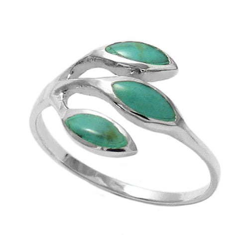 Turquoise Three Leaf Ring