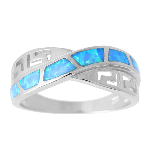 Blue Fire Opal Greek Key Band