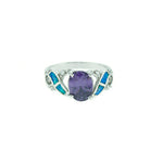 Blue Opal and Amethyst Oval Ring
