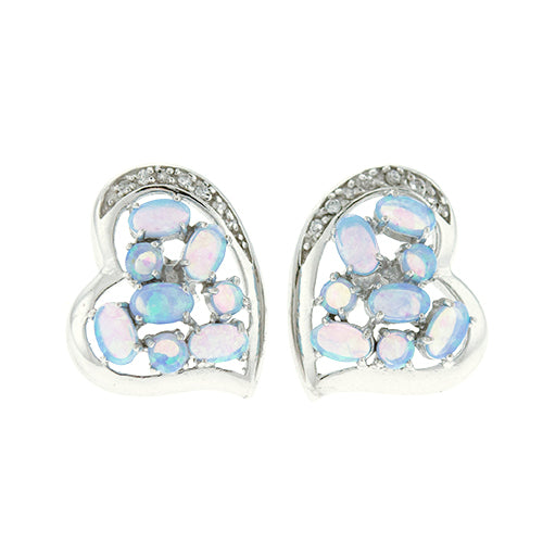 Blue Opal and CZ Heart Earrings