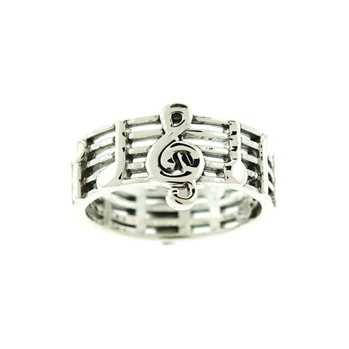 Treble Clef Music Stanza Ring