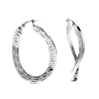Curved Greek Key Oval Hoops