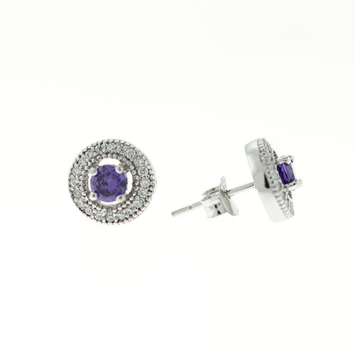 Amethyst Micro Pave Halo Earrings