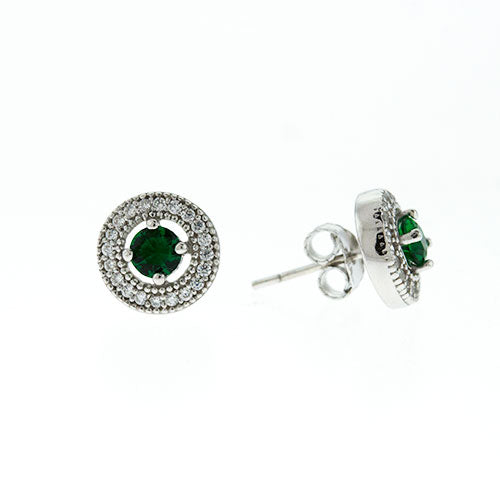Emerald Micro Pave Halo Earrings
