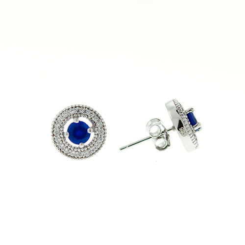 Sapphire Micro Pave Halo Earrings
