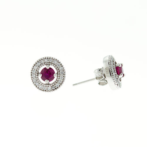 Ruby Micro Pave Halo Earrings
