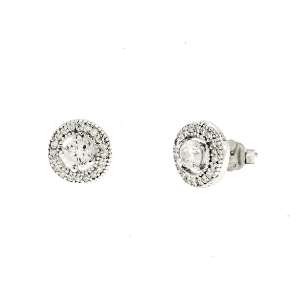 CZ Halo Earrings