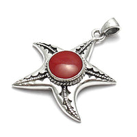 Red Coral Starfish Pendant