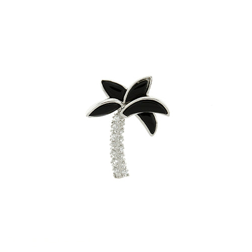 Black Onyx and CZ Palm Tree Pendant