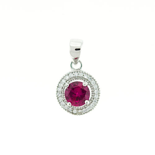 Ruby Micro Pave Halo Pendant