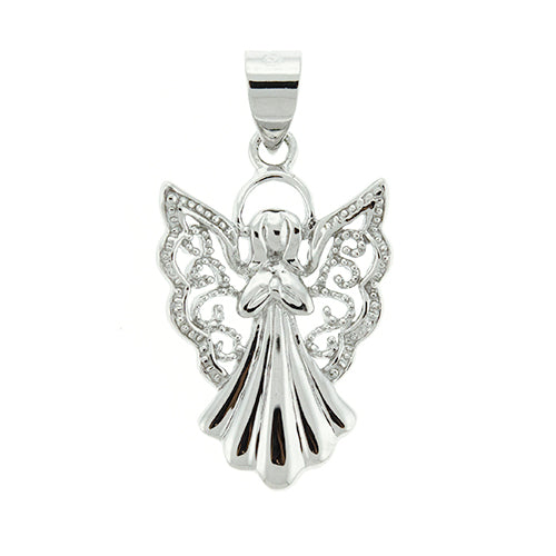CZ Filigree Angel Pendant