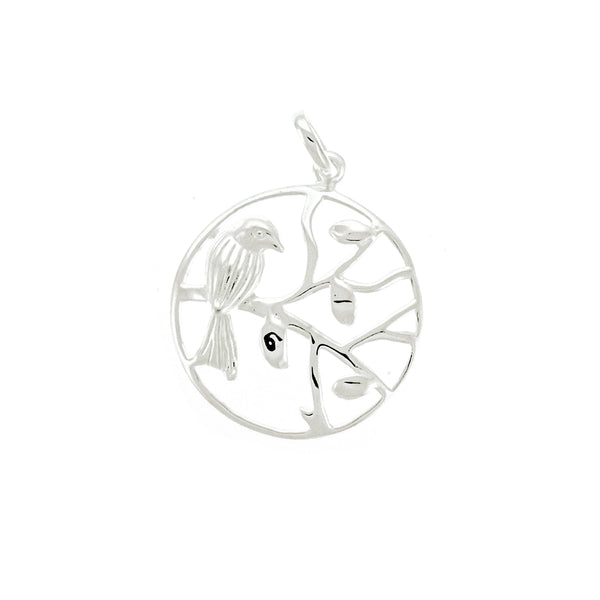 Round Bird on Branch Pendant