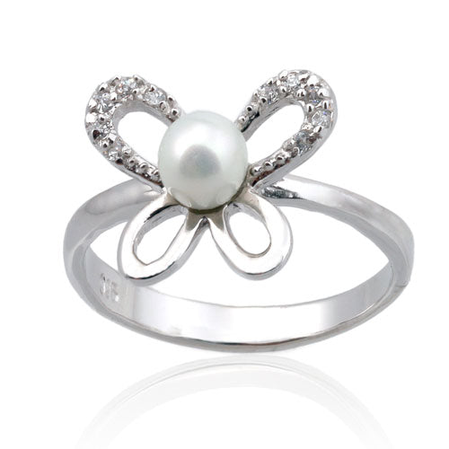CZ and Pearl Butterfly Ring