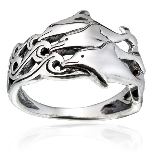 Three Dolphin Band Ring