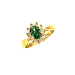 14K CZ Oval Sunflower Ring