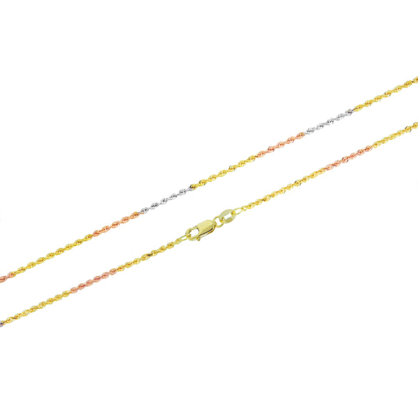 14K Tricolor Rope 030 Chain