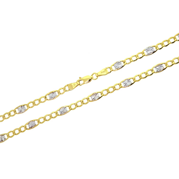14K Semi Hollow Two Tone Curbtino Chain