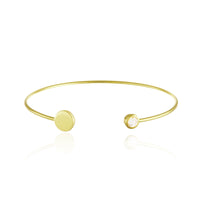 Disc and CZ Cuff Bangle Bracelet