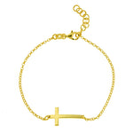 Gold Vermeil Sideways Cross Bracelet