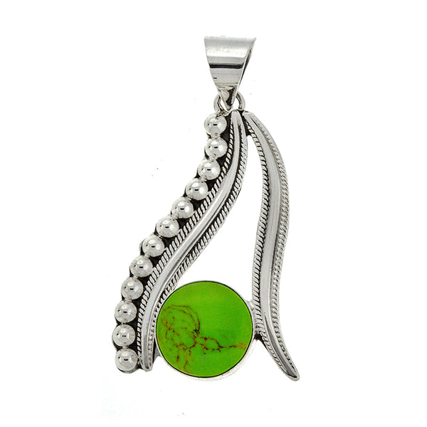 Lime Green Stone Line Pendant