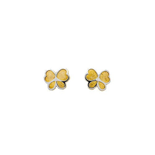 14K Gold Two Tone Butterfly Studs