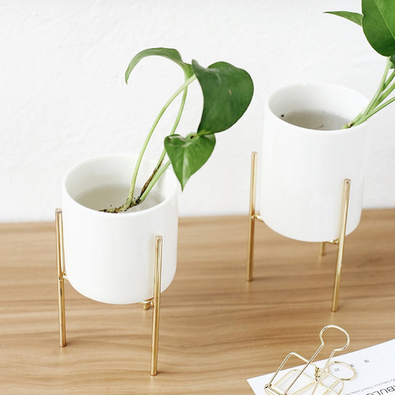 White Flower Pot Made with Ceramic and Hard material - Spero Store