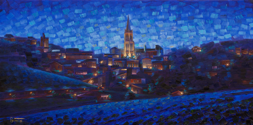 St Emilion a Nuit original oil on canvas 12x24in