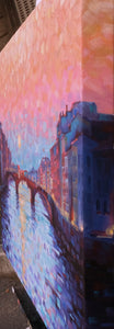 Sunset Over the Arno - Original oil on canvas 20x28in