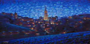 St Emilion a Nuit hand embellished canvas print 12x24in limited edition