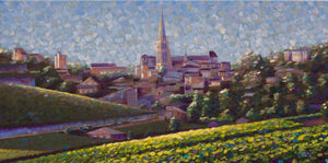 St Emilion Hand embellished giclee print on canvas 15x30 Limited Edition