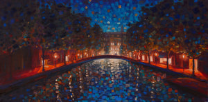 A Walk in Amsterdam - Hand Embellished Giclee on Canvas Limited Edition Print