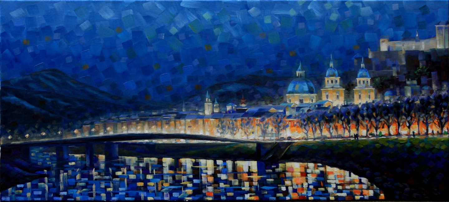 Austrian Nights - Hand embellished giclee on canvas limited edition 17x36in
