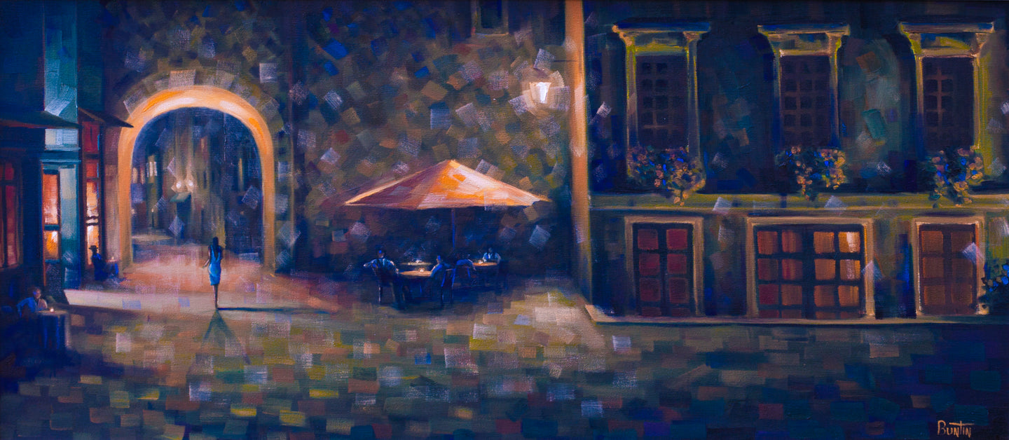 Belle Bleu - Original Oil on Canvas 18x36in